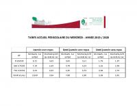 TARIFS ACCUEIL PERISCOLAIRE DU MERCREDI 2019 – 2020