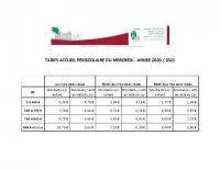TARIFS PERISCOLAIRE MERCREDI 2020_21